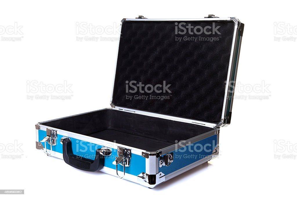 An open blue aluminum briefcase on a white background stock photo
