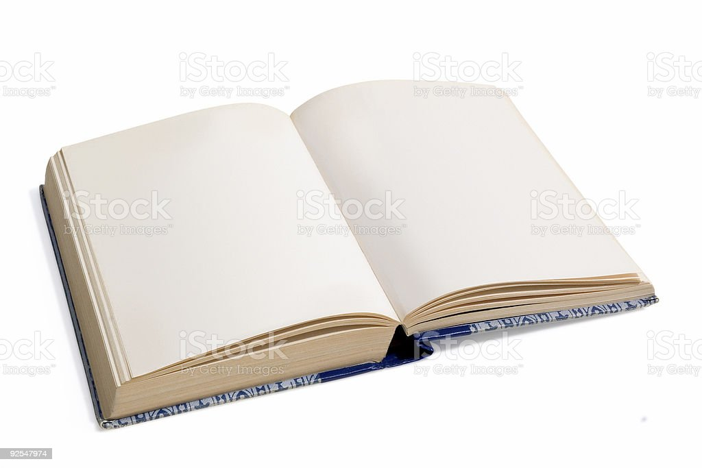 An open book flipped to a blank page on a white background stock photo