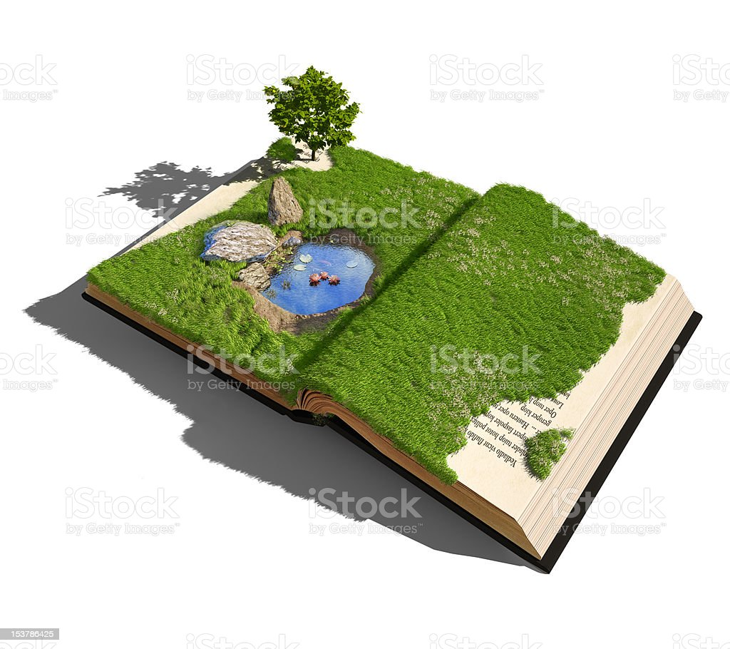 An open book of a garden and pool royalty-free stock photo