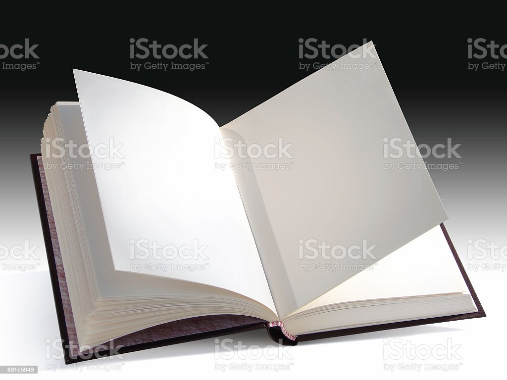 An open book with blank pages on a shadowed background stock photo