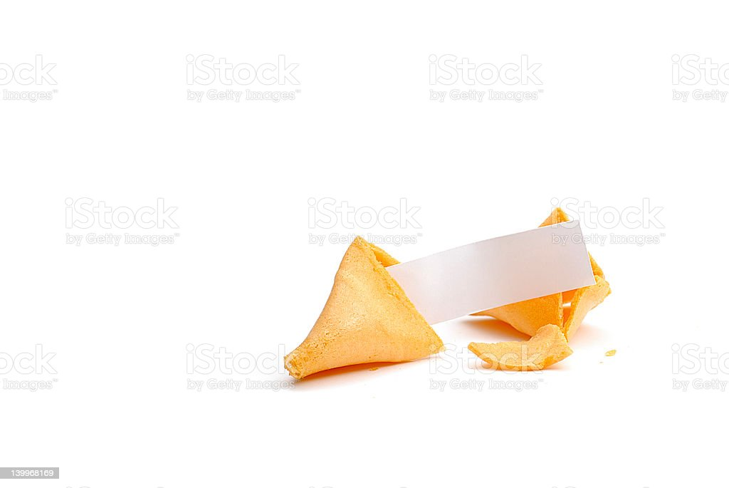 An open fortune cookie, revealing a blank fortune  royalty-free stock photo