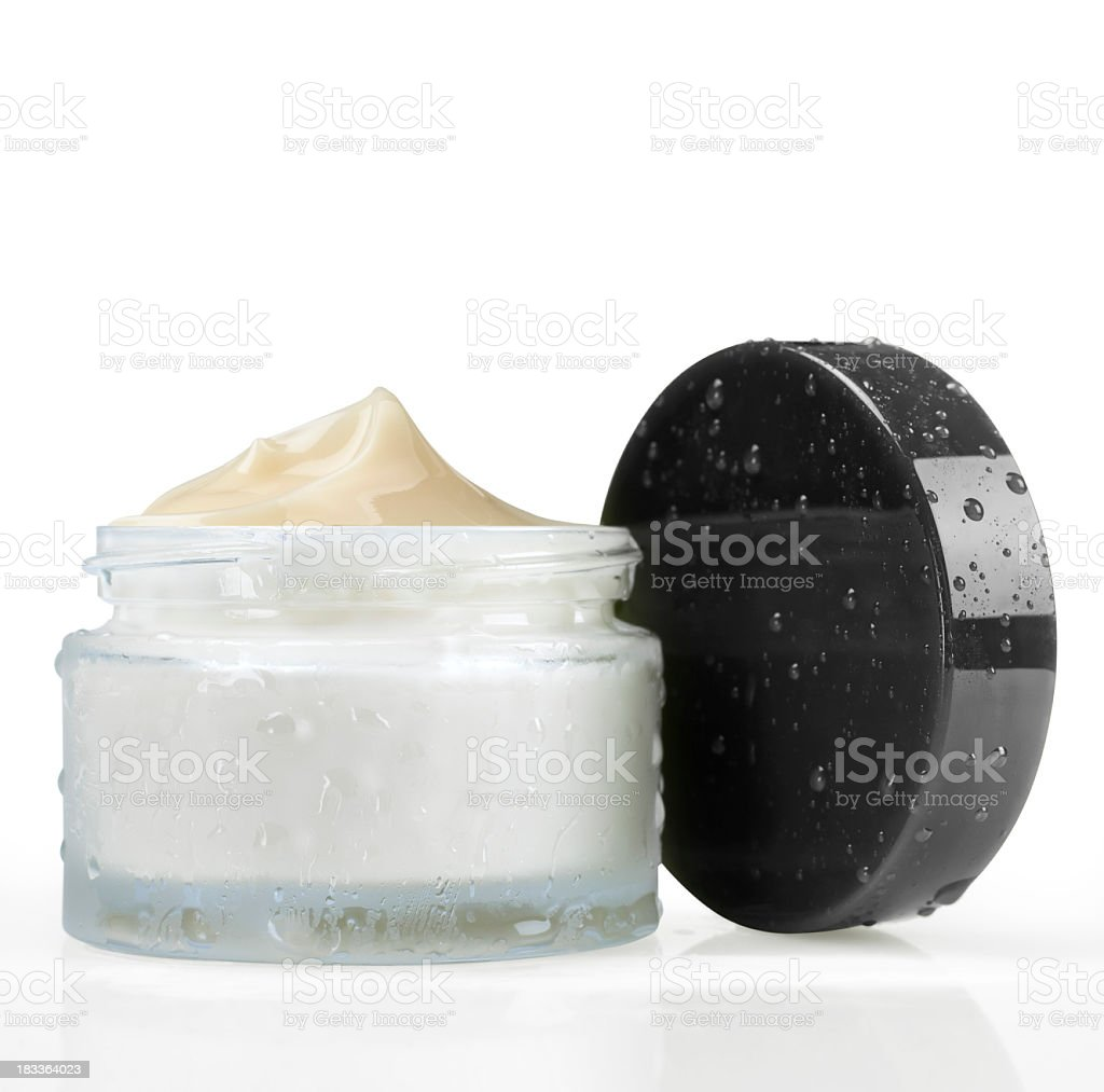 An open full jar of face cream royalty-free stock photo