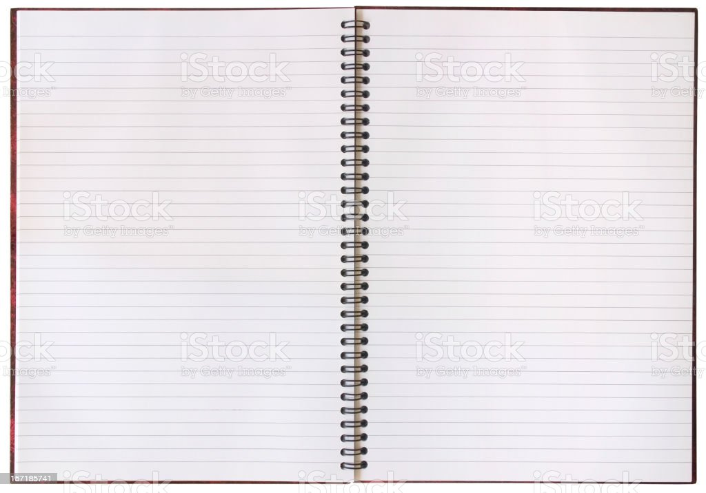 An open notebook with blank pages stock photo