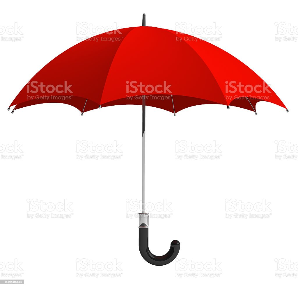 An open red umbrella, isolated on a white background stock photo