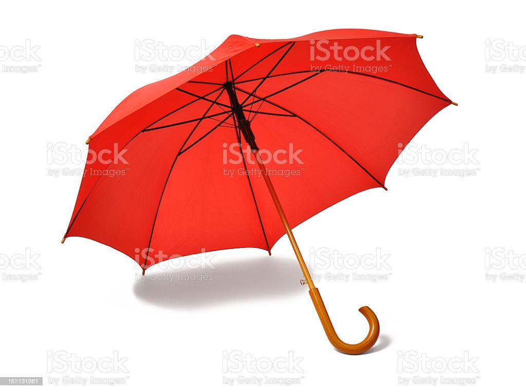 An open red umbrella with a shadow stock photo