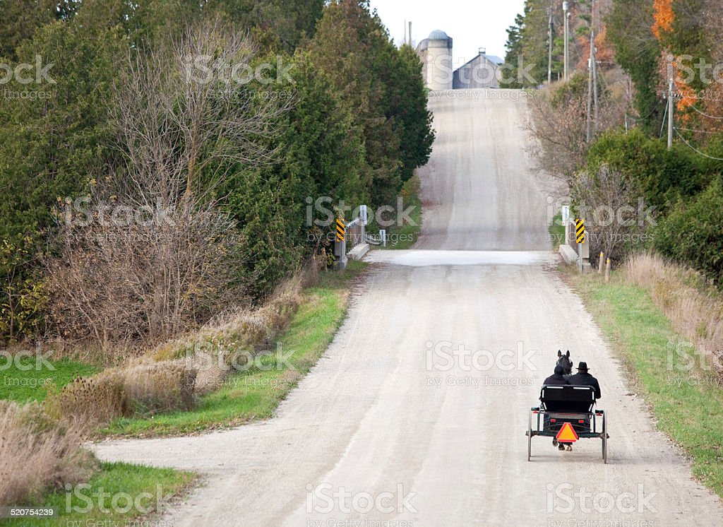 An open road with a Mennonite horse and buggy in Ontario stock photo