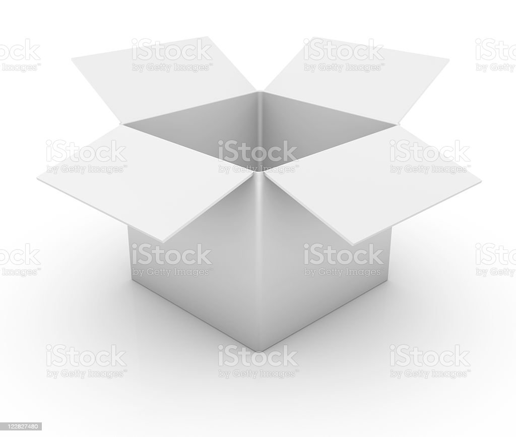 An open white cardboard box on a white background stock photo