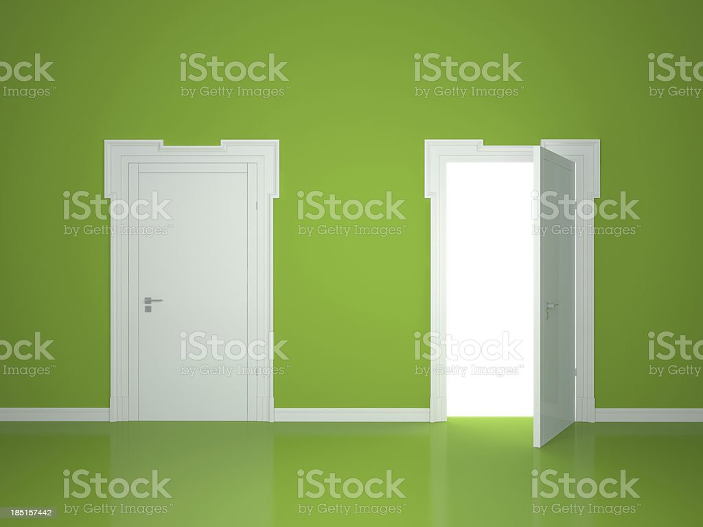 An opened and a closed door illustration stock photo