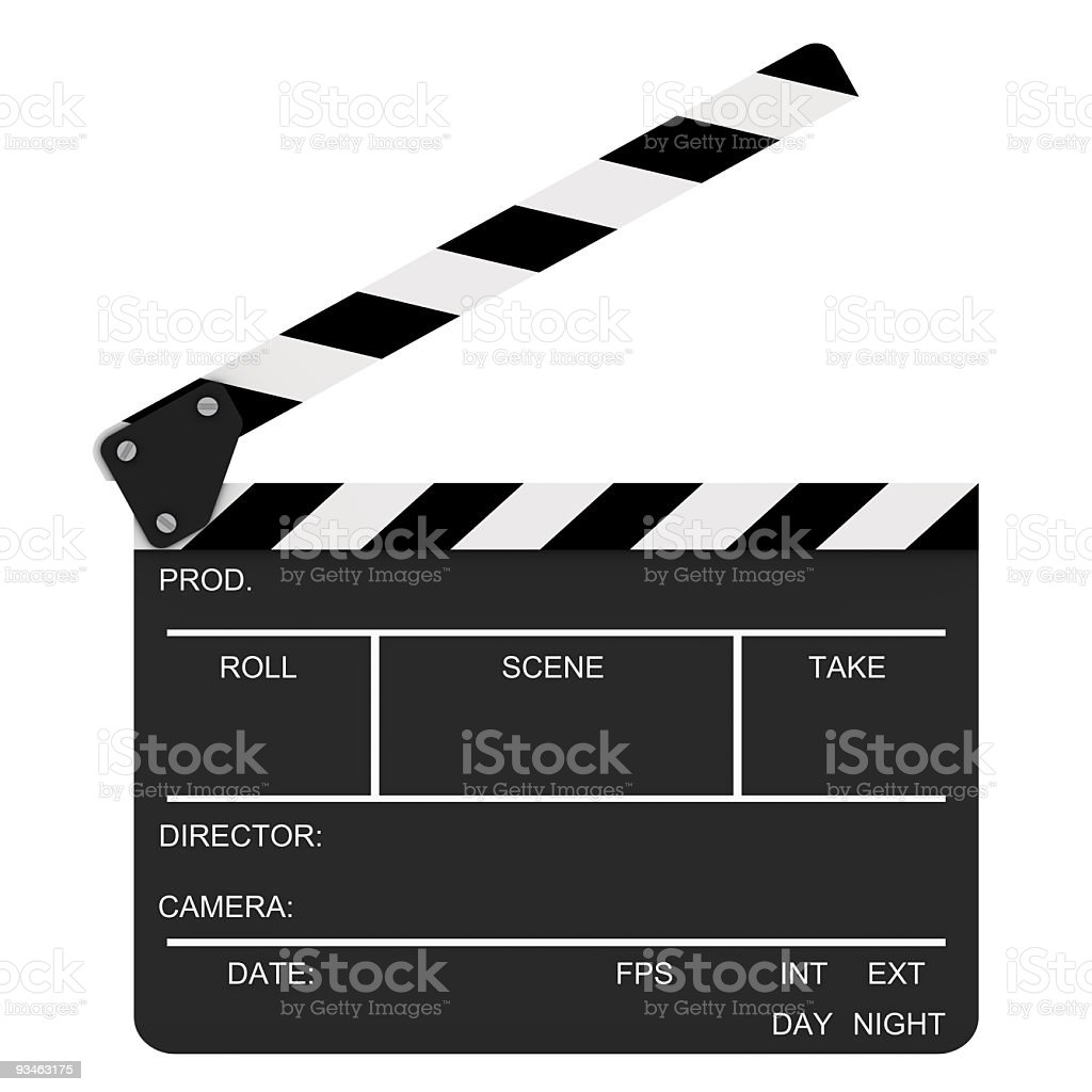 An opened clap board film prop stock photo