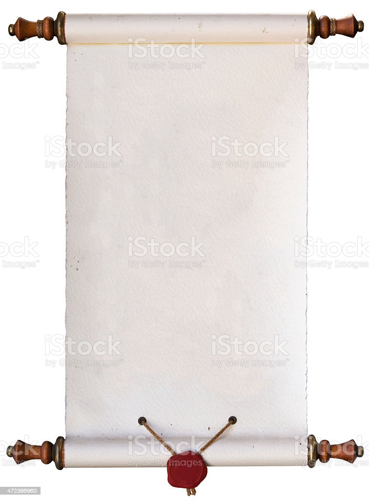 An opened paper scroll on a white background stock photo