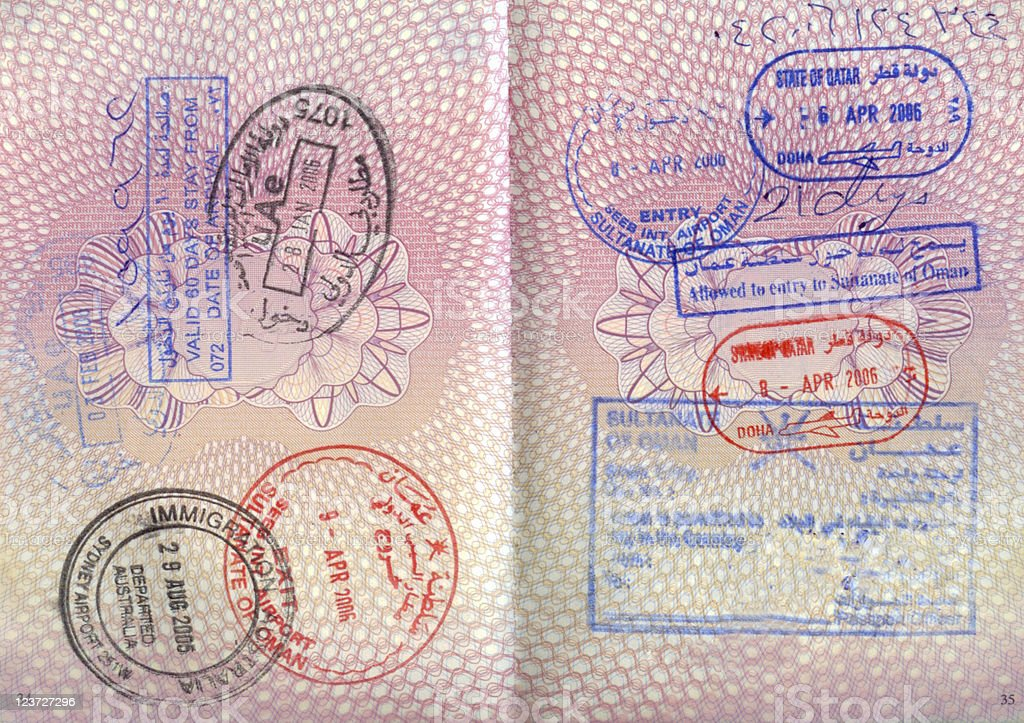 An opened passport with entry stamps on both pages stock photo