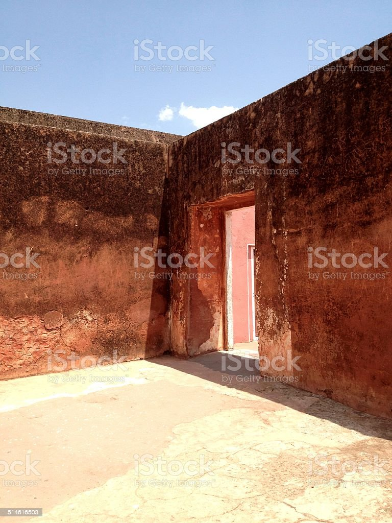 An opening in the wall of the Jaigarh Fort, Jaipur stock photo