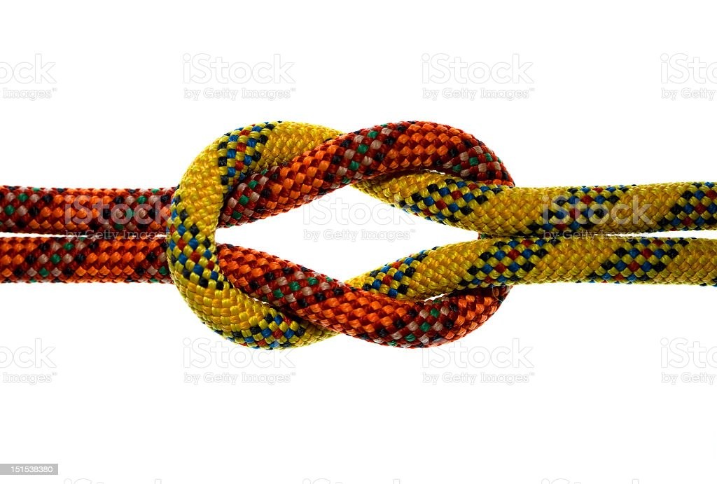 An orange and yellow knotted rope royalty-free stock photo