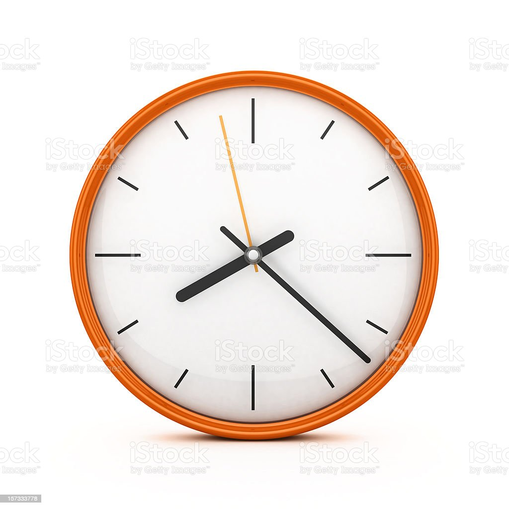 An orange clock on an isolated white background stock photo