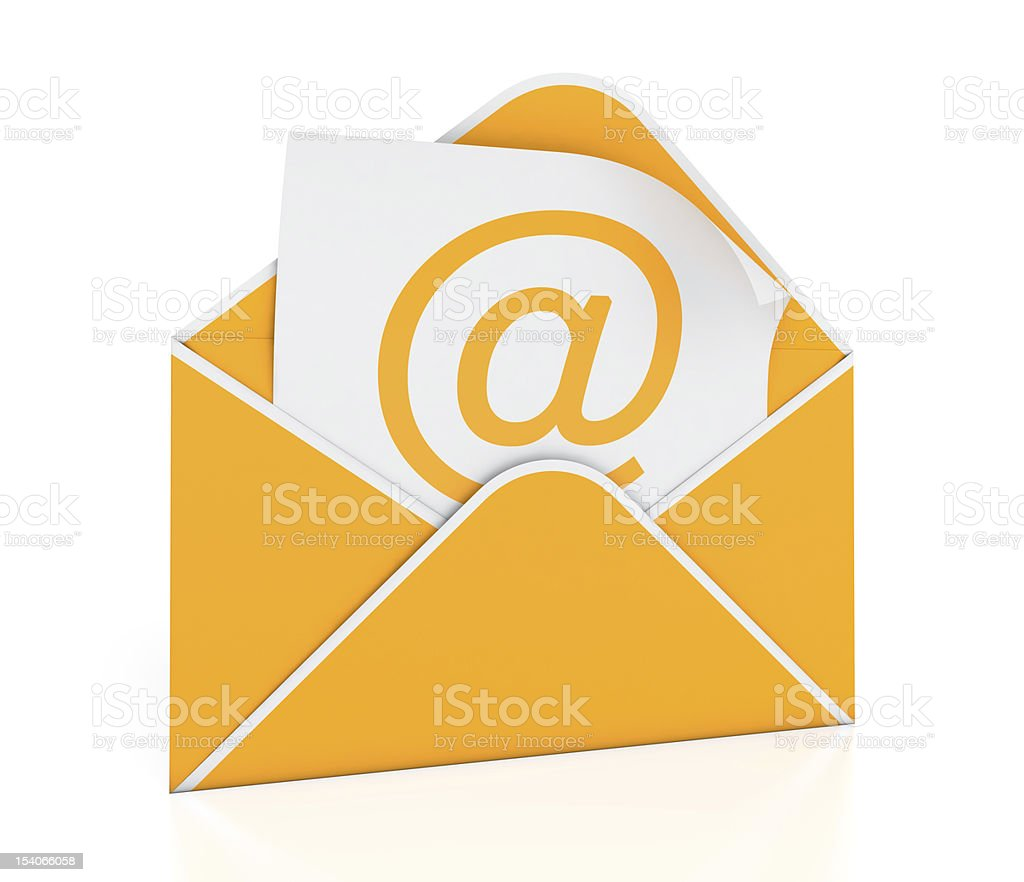 An orange envelope with an @ symbol inside stock photo