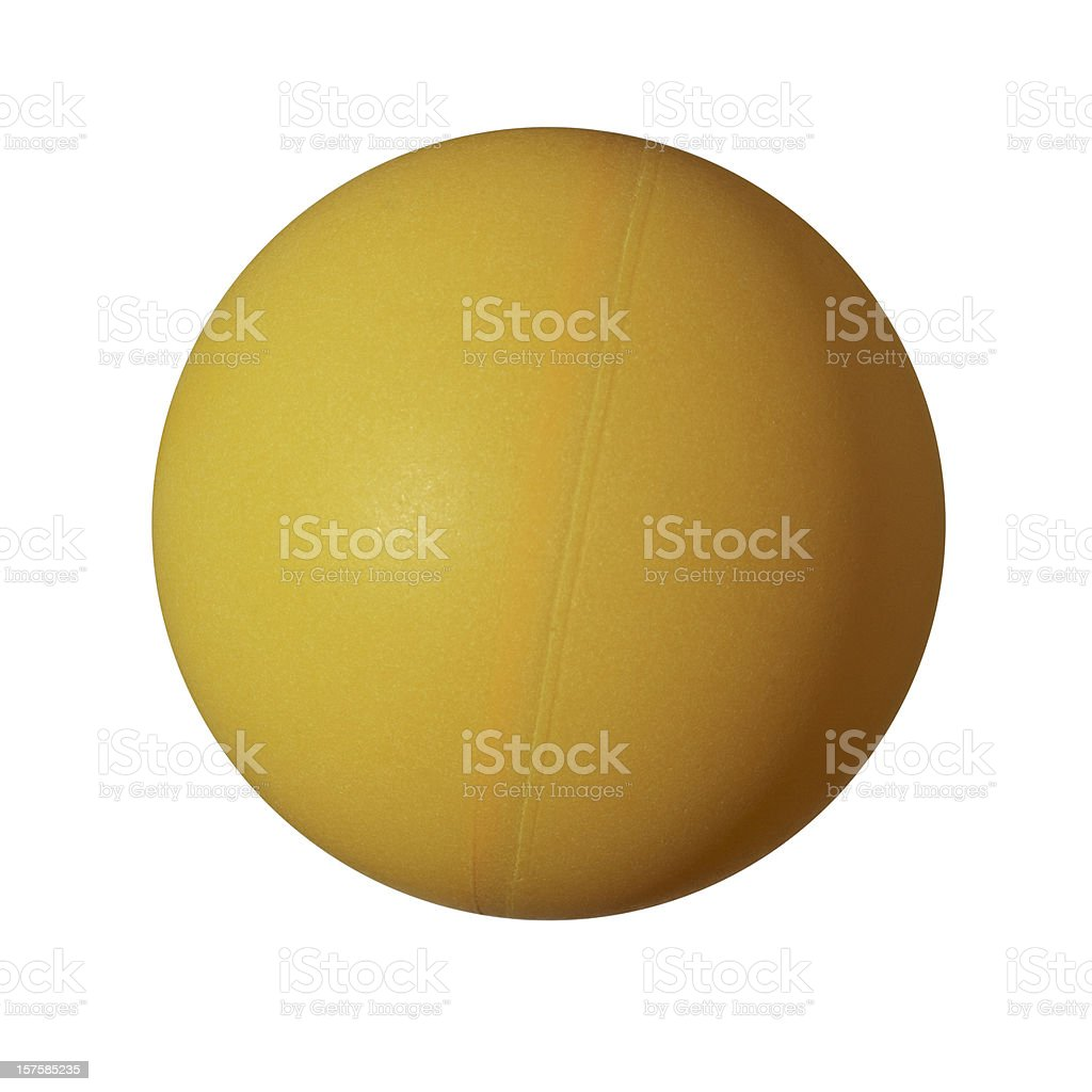 An orange table tennis ball with a visible seam royalty-free stock photo