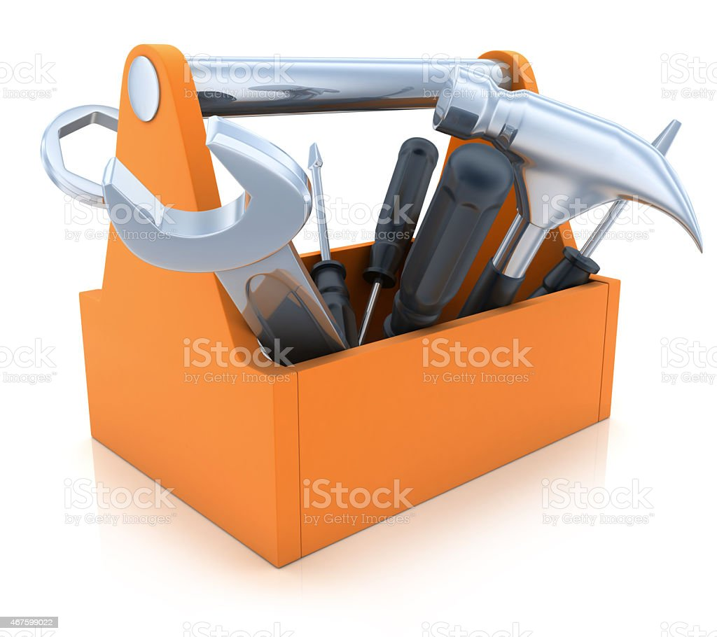 An orange toolkit with tools out on a plain background stock photo