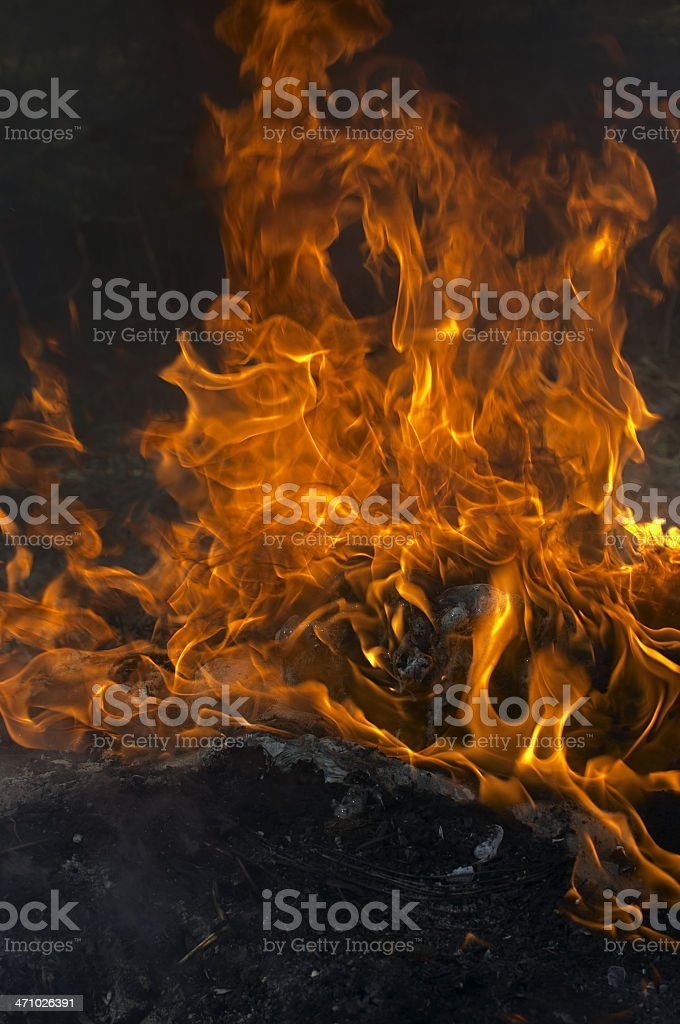 Smoke flames and ash orange fire royalty-free stock photo