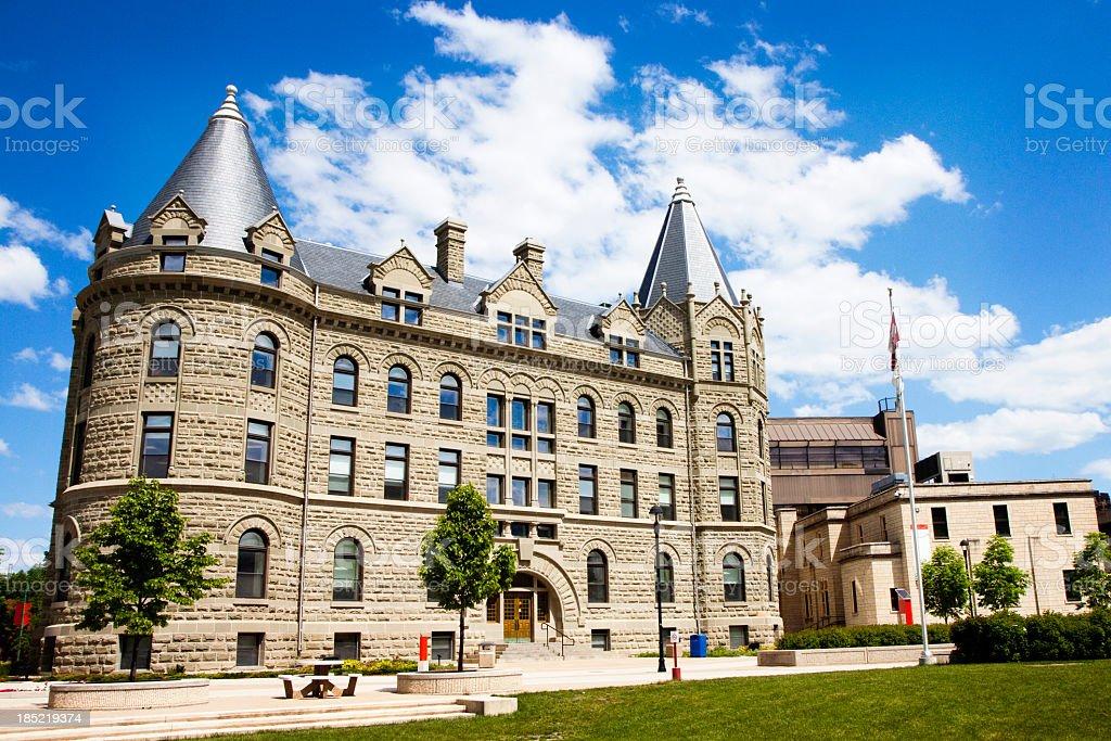 An outside shot of the University of Winnipeg on a sunny day stock photo