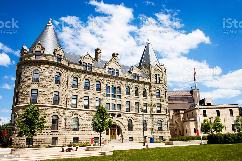 An outside shot of the University of Winnipeg on a sunny day stock photo