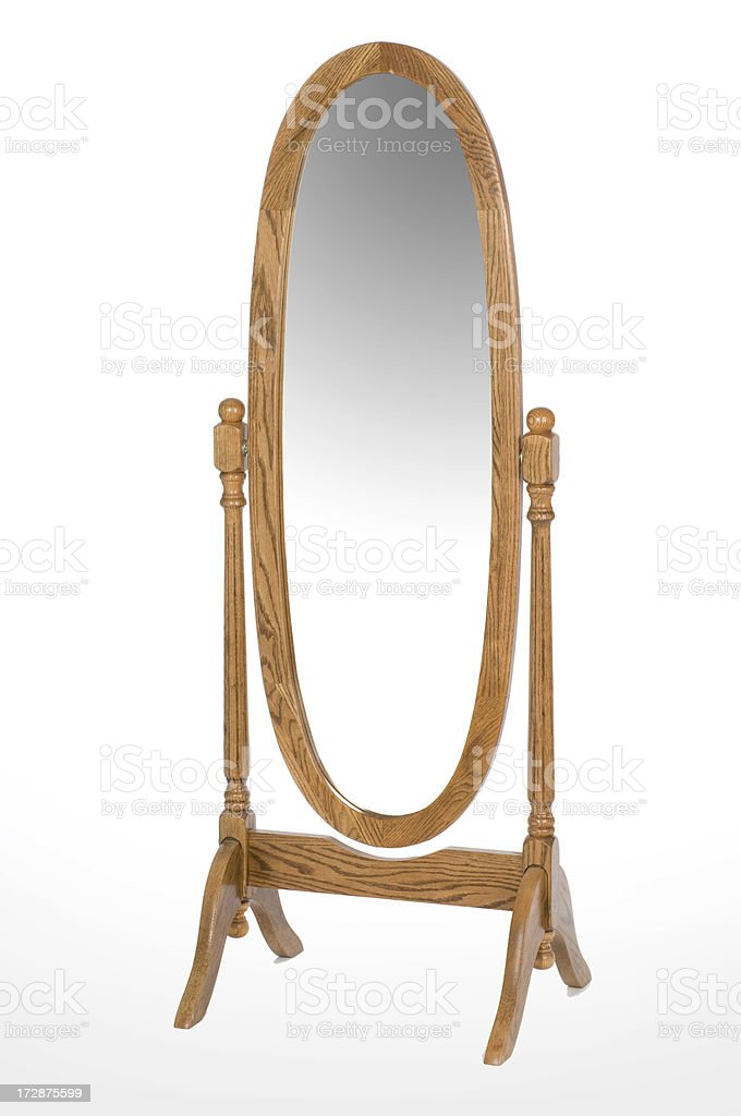 An oval oak full length mirror royalty-free stock photo