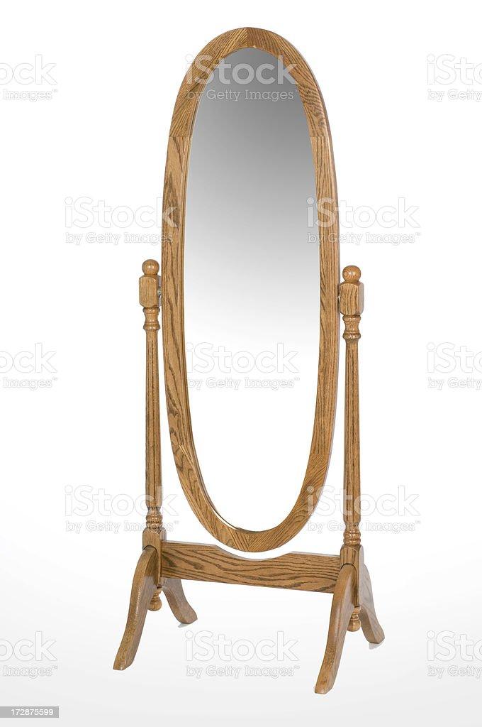 An oval oak full length mirror stock photo