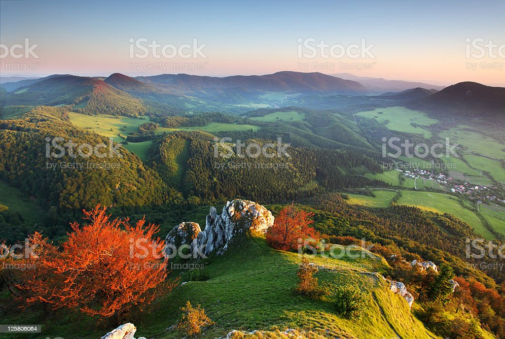 An overhead autumn mountain view stock photo