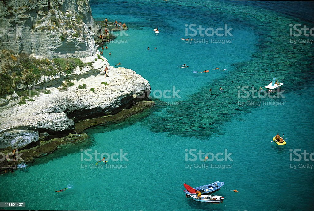 An overhead view of Tropea and boats stock photo