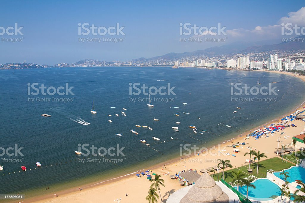 An overview of Acapulco bay in Mexico stock photo