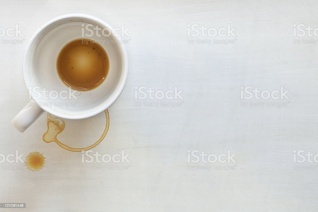 An overview of an empty cup of coffee stock photo