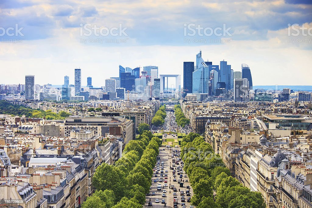 An overview of Grande Armee avenue in Paris, France stock photo