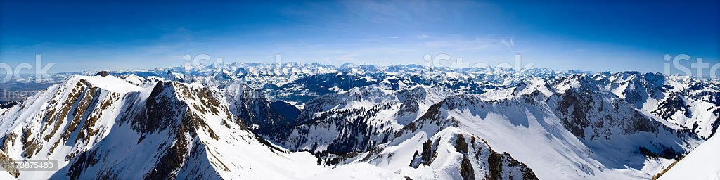 An overview of the alpine panorama mountains stock photo