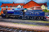 An SDJR 7F Class 2-8-0 Steam Locomotive at Minehead UK