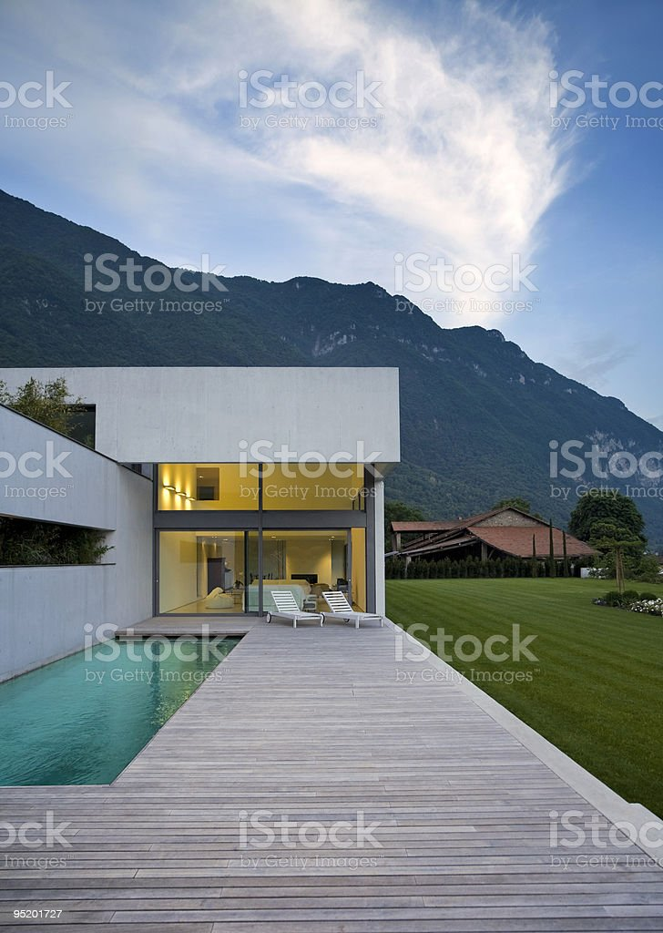 An ultra modern house in the mountains royalty-free stock photo