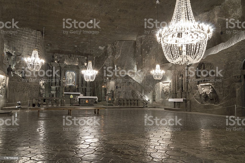 An underground chamber in the Salt Mine in Wieliczka stock photo