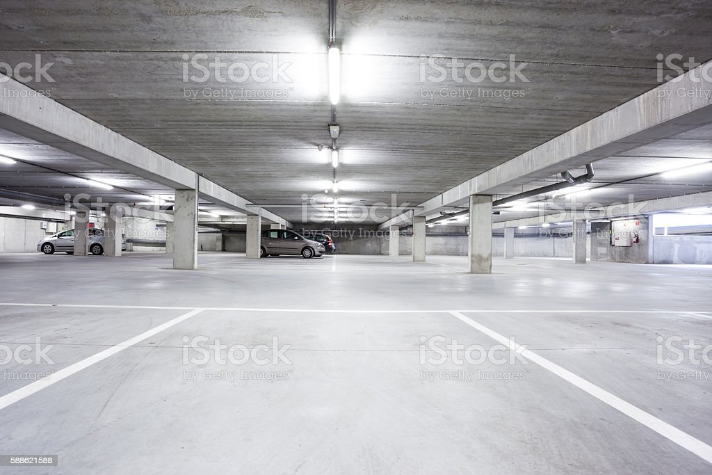 an underground garage stock photo