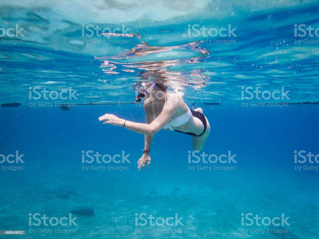 An underwater photo beneath the surface of the ocean stock photo