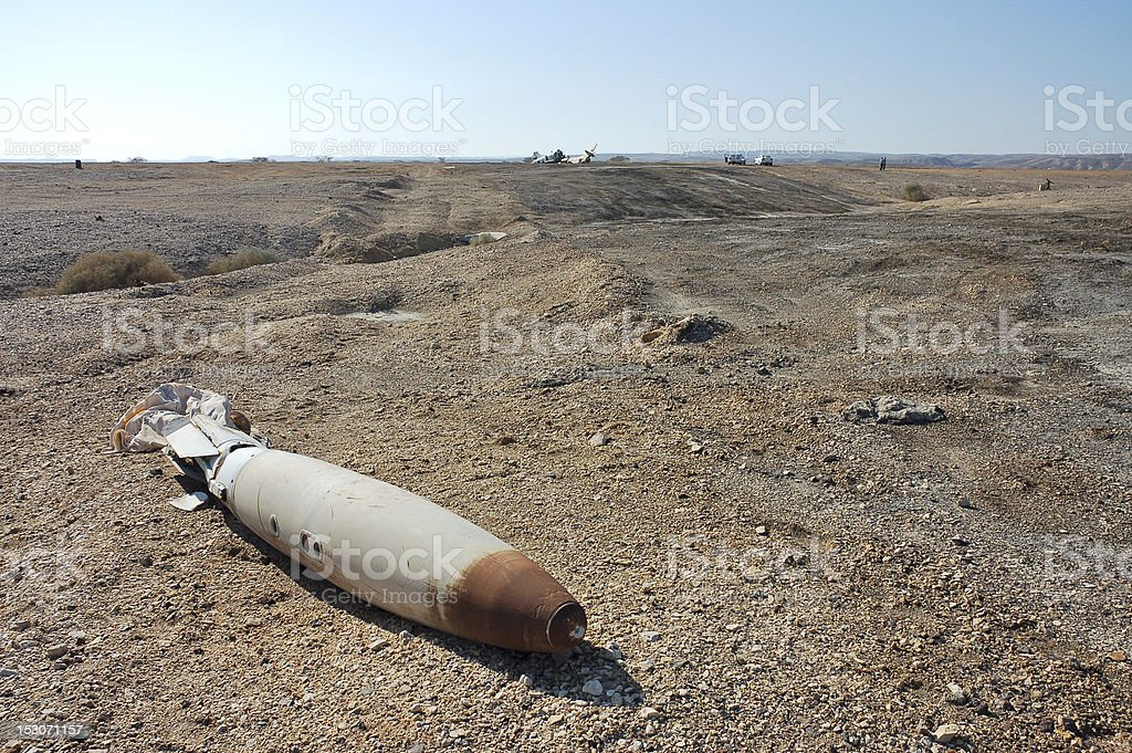 An unexplored bomb lies on the ground  royalty-free stock photo
