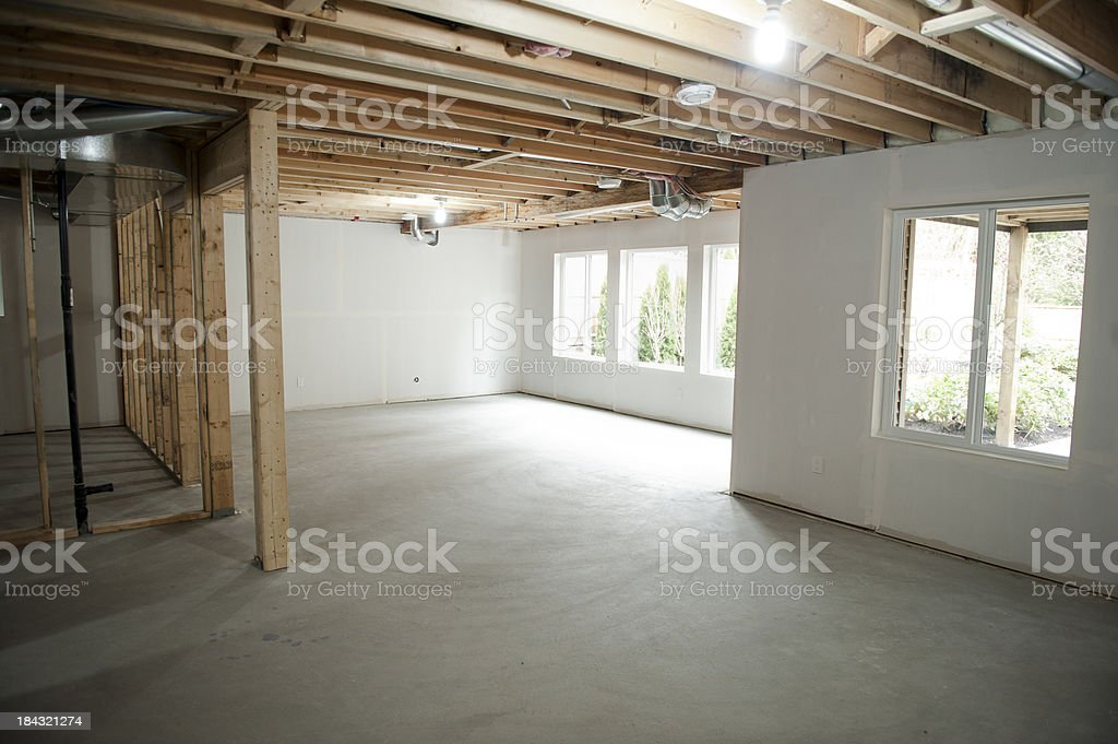 An unfinished basement in someone's home being built royalty-free stock photo