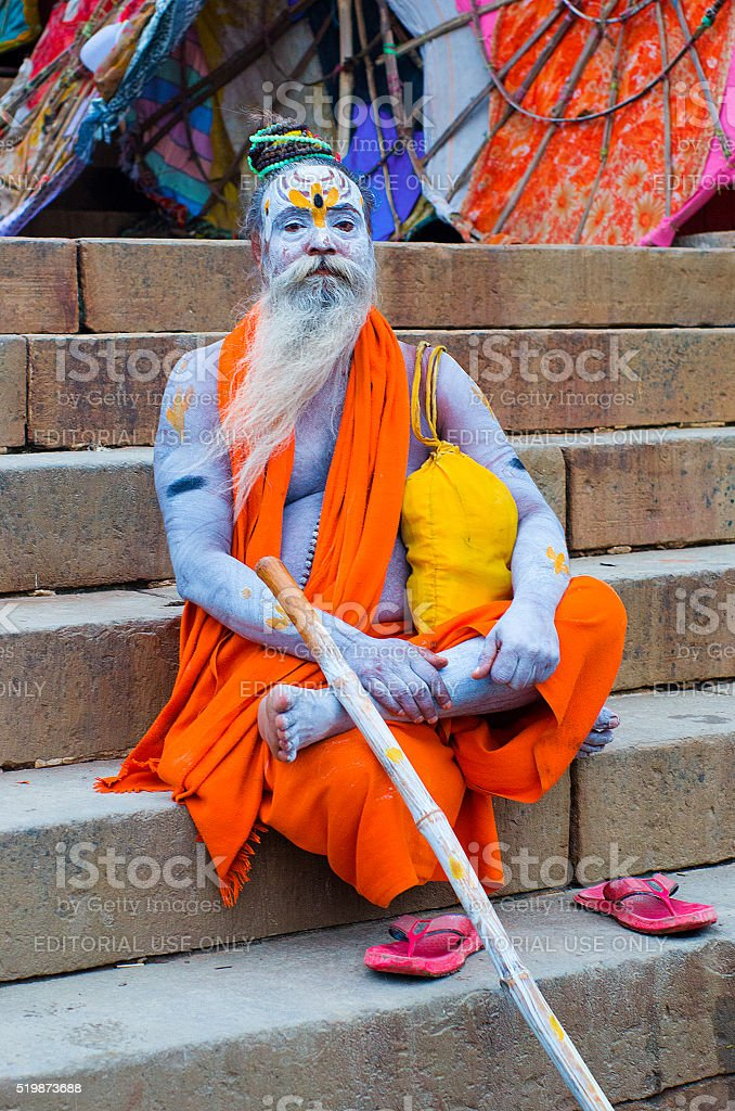 VARANASI, INDIA - OCT 1: An unidentified  sadhu with traditional stock photo
