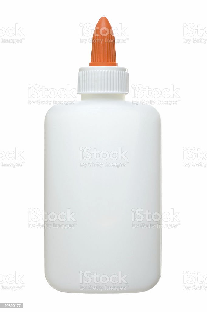 An unlabelled white and orange glue bottle stock photo