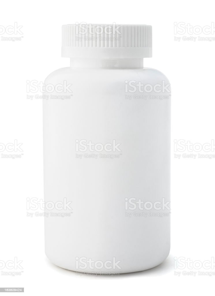 An unmarked white medicine bottle  stock photo