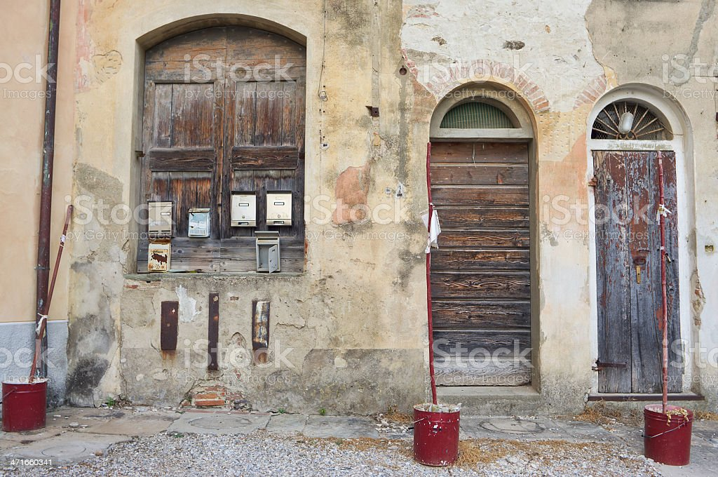 An unusual arrangement in front of a village house royalty-free stock photo