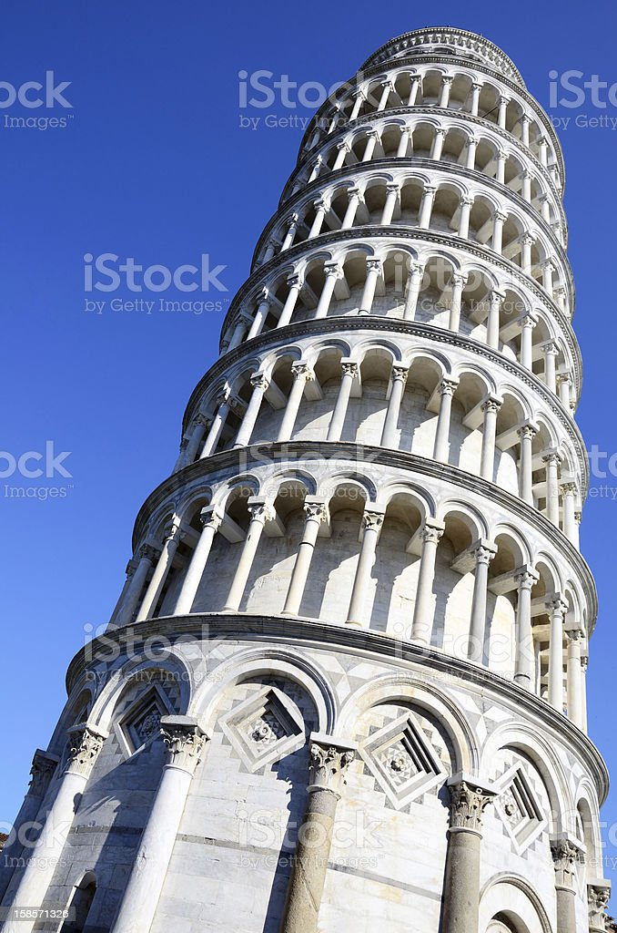An up close looking up view of the leaning tower of Pisa stock photo