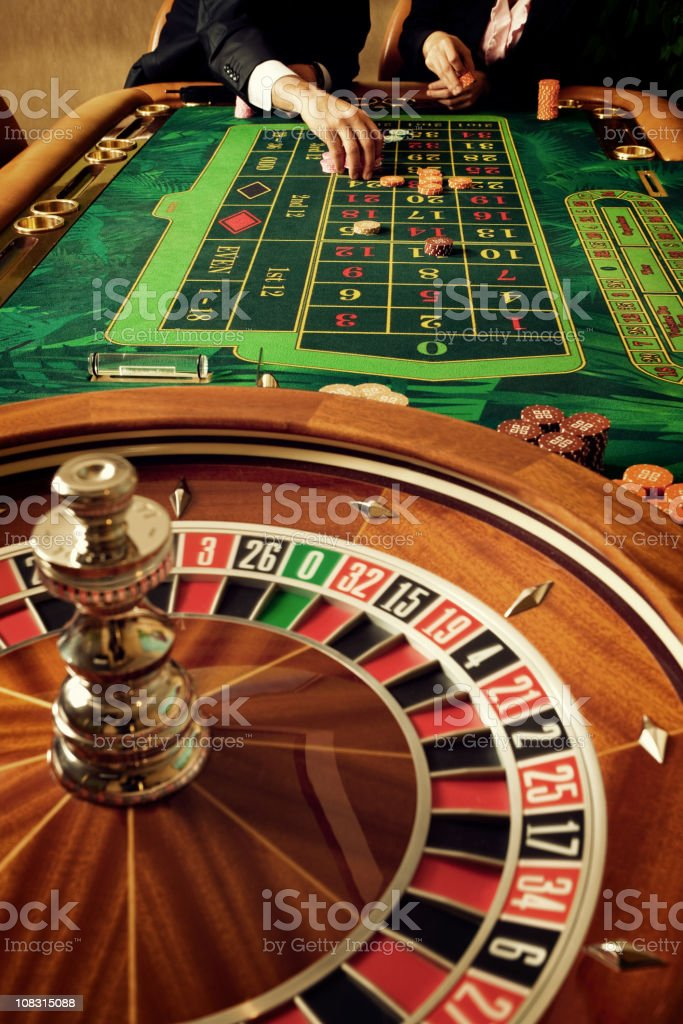 An up close picture of a casino stock photo