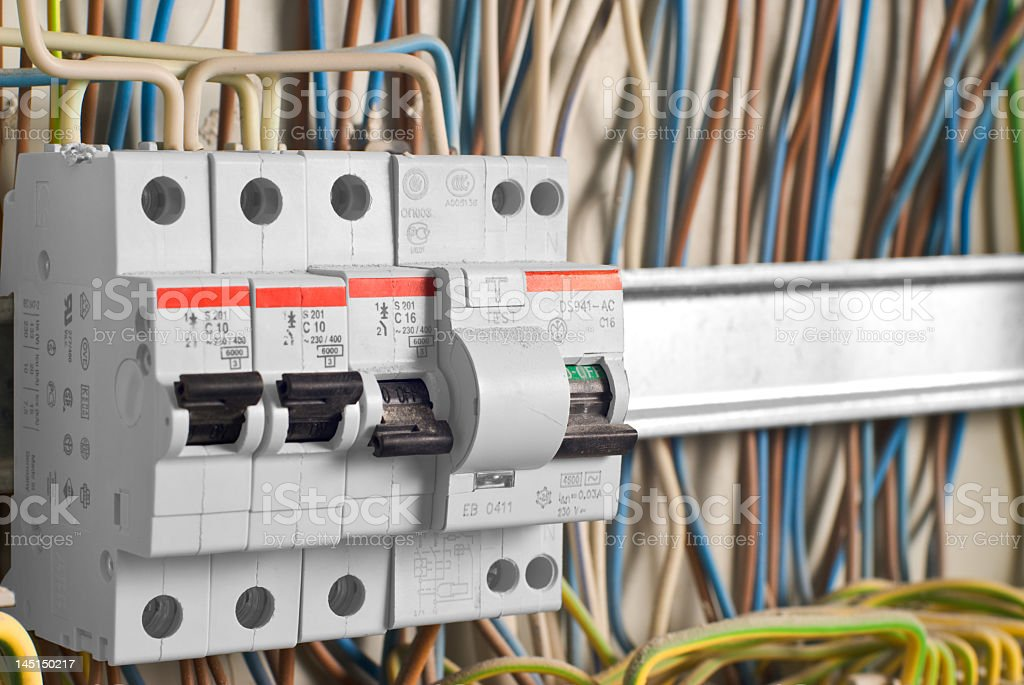 An up close picture of a fuse box stock photo