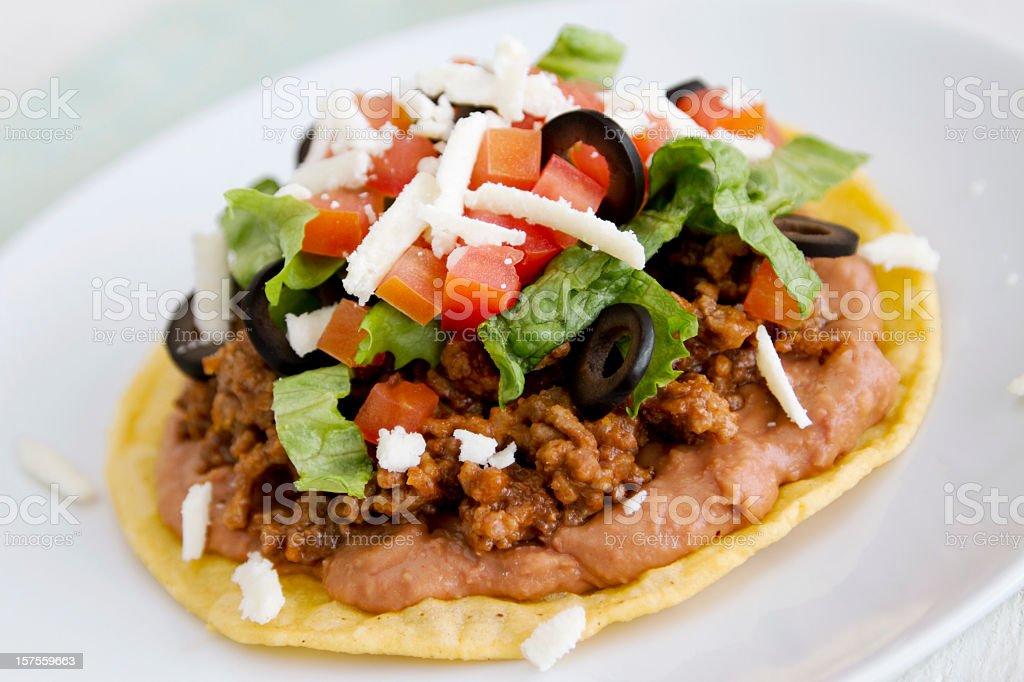 An up close picture of a tostada stock photo