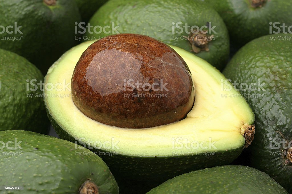 An up close picture of an avocado royalty-free stock photo