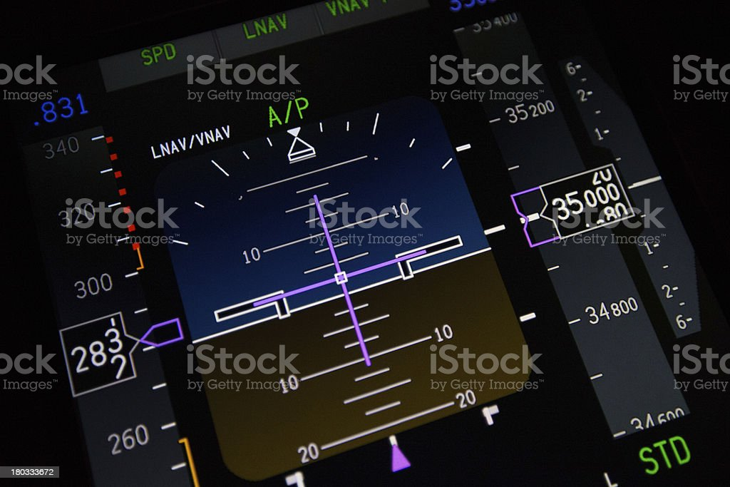 An up close view of a digital aircraft control center royalty-free stock photo