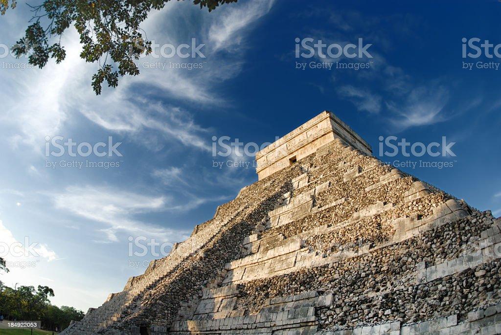 An upward shot of the Mayan pyramid in daylight  stock photo